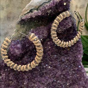 Silvertone Rhinestone and Leather Wrap Earrings